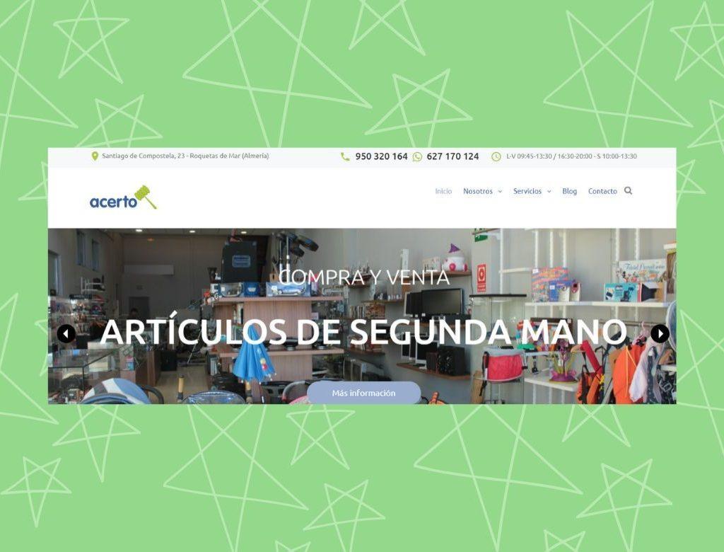 Pagina web tienda segunda mano Roquetas Acerto